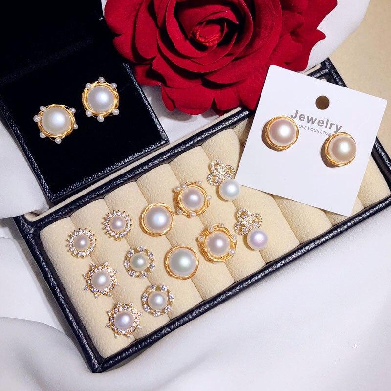 Stud-Earrings Fine-Jewelry 925-Silver-Needles Pearls Freshwater Natural Original Women
