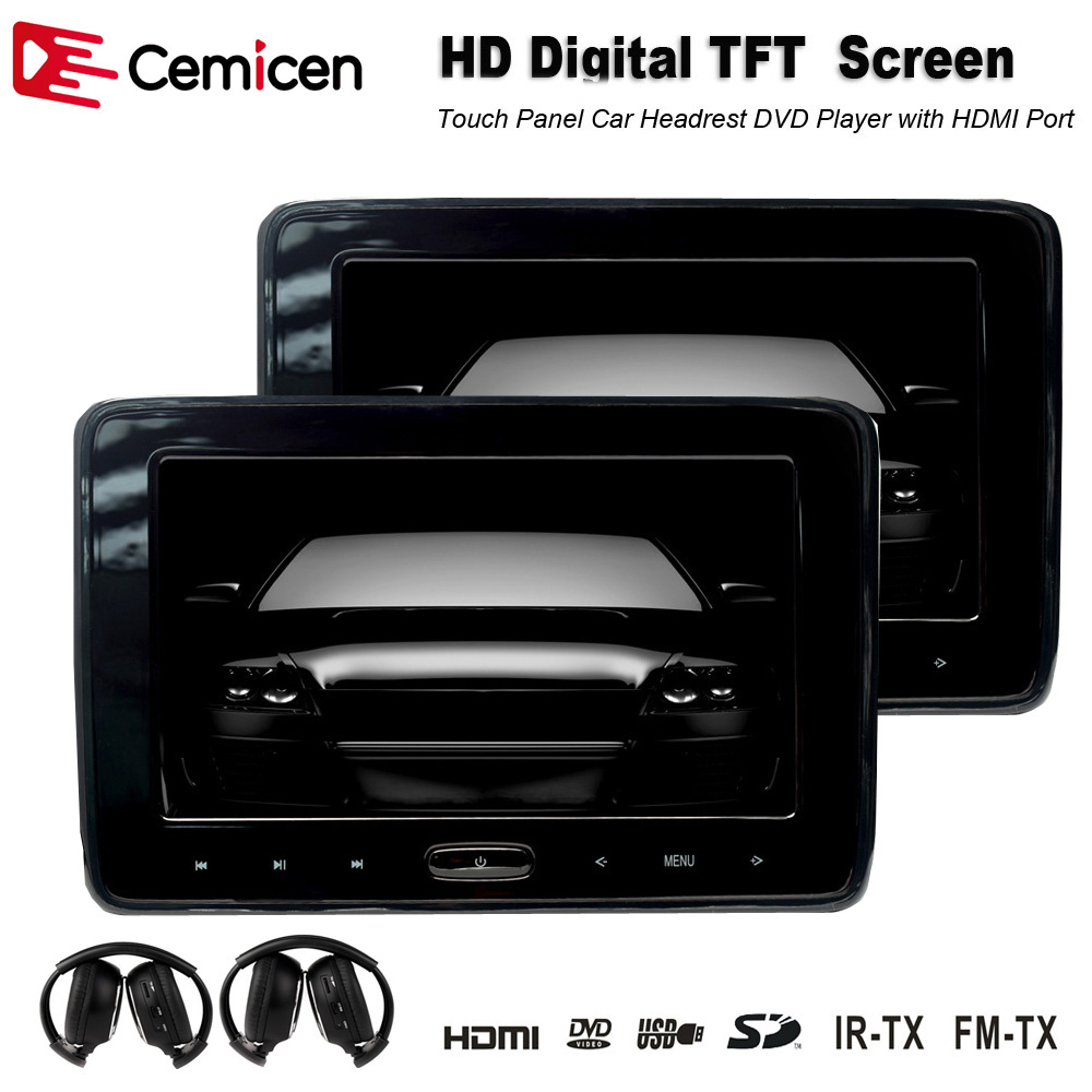 Pair 10 1 inch 1024 600 car headrest dvd player usb sd hdmi ir fm tft - Cemicen 2pcs 10 1 Inch Car Dvd Player Car Headrest Monitor With Touch Screen Support Hd 1080p Usb Sd Hdmi Ir Fm Transmitter Game