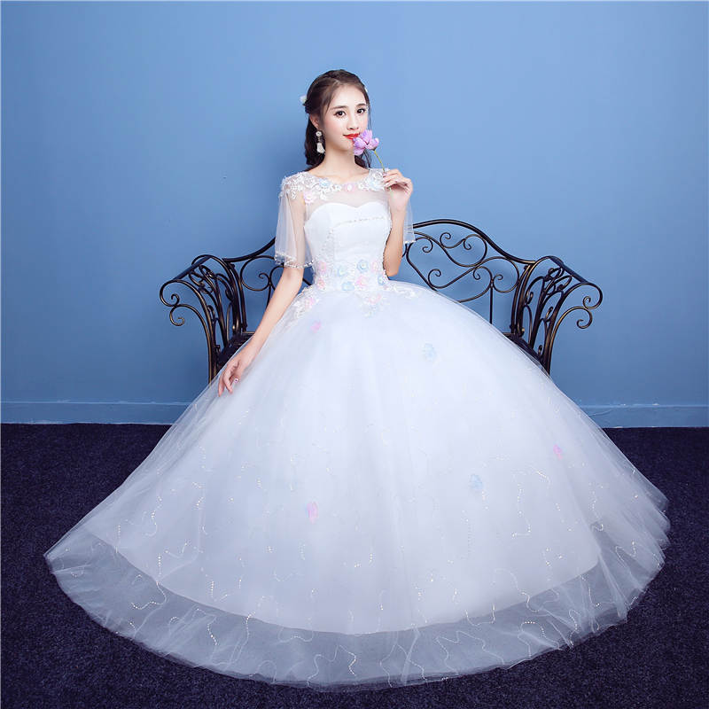 It s YiiYa Off White Popular O Neck Short Sleeve Wedding Frock Appliques  Embroidery Crystal Beading Plus Size Wedding Gowns D01-in Wedding Dresses  from ... d88c1bd7b679