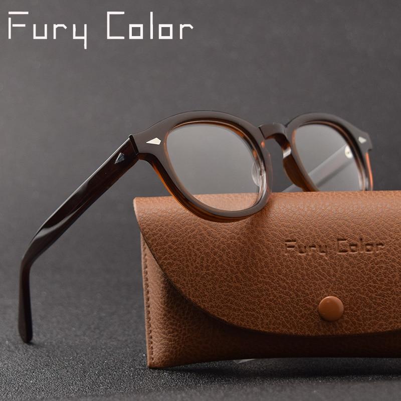 07b51d08fc Gafas redondas de acetato Vintage Retro estilo de Johnny Depp montura óptica  de miopía transparente montura