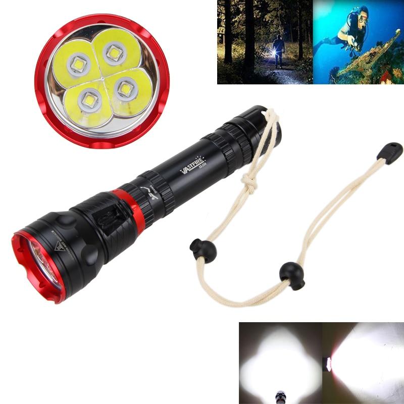מתחת למים 100M צלילה פנס 5000LM 4x XM-L2 LED 2 * 18650/26650 צלילה פנס פנס אור לפיד