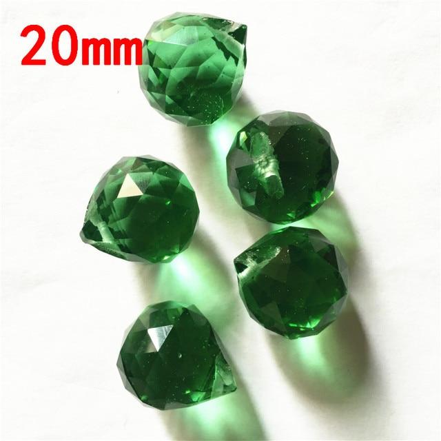 Dark Green 20pcs/lot 20mm Glass Balls Crystal Chandelier 1 Hole Prism Balls Lighting Ornament Balls For Decoration