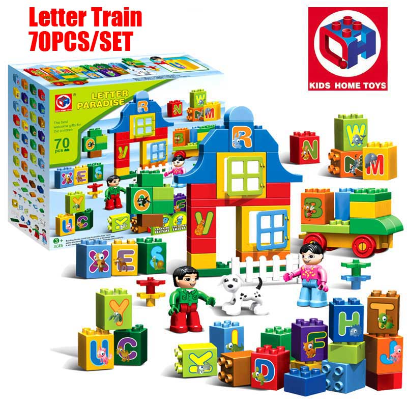 цена на Oenux Large Particles Brick A-Z Animal Letter Alphabet Letter Train Model Building Blocks Bricks Kids Toy Compatible With Duplo