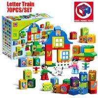 Oenux Large Particles Brick A Z Animal Letter Alphabet Letter Train Model Building Blocks Bricks Kids Toy Compatible With Duploe