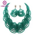 Marvelous African Beads Wedding Jewelry Set Teal Green African Costume Jewelry Set 2017 Statement Necklace Earrings Set WB096