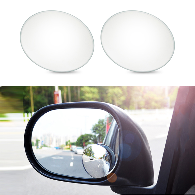 Urbanroad 2PCS 360 Degree Car Rearview Mirror High-definition Convex Glass Wide-angle Rear-view Auxiliary Blind Spot Mirror 2 in 1 car blind spot mirror wide angle mirror 360 rotation adjustable convex rear view mirror view front wheel car mirror