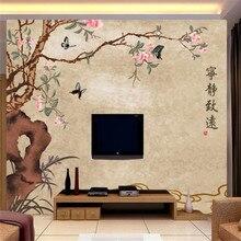 лучшая цена Custom wallpaper quiet Zhiyuan Chinese style TV background wallpaper mural high-grade waterproof material