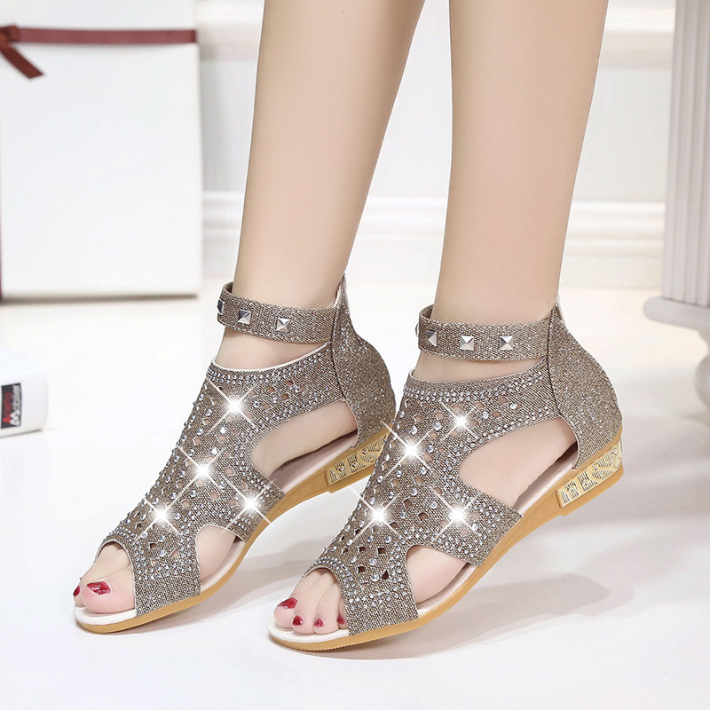 2019 Summer New <font><b>Flat</b></font> with Fish Mouth Sweet <font><b>Sexy</b></font> Roman <font><b>Sandals</b></font> Back Zipper <font><b>Flat</b></font> Bottom Non-slip Rhinestone Rivet Womens <font><b>Sandals</b></font> image