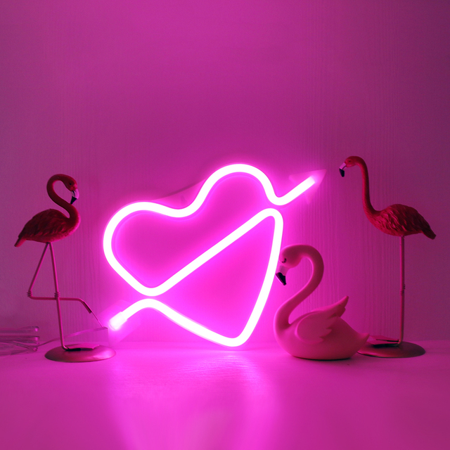 Heart Neon Lights Battery Operated & USB 2