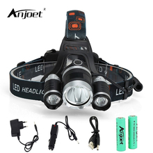 ANJOET Fishing lamp 3*T6 Bicycle Headlamp 30W Headlight Torch XML-T6 Searchlight LED Head Lights With 18650 Battery+Charge anjoet fishing lamp 3 t6 bicycle headlamp 30w headlight torch xml t6 searchlight led head lights with 18650 battery charge