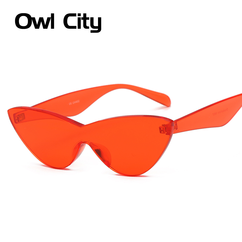 Owl City Sunglasses Women Cat Eye Vintage Sun Glasses Retro CatEye One Piece Eyewear Men UV400 Female Shades Festival Sunglass