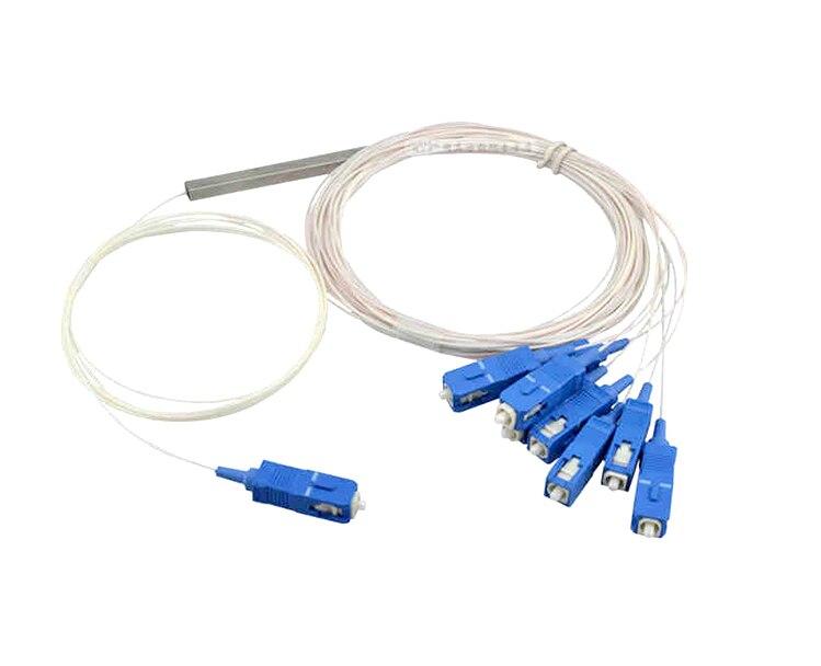 10pcs/lot Mini Fiber Optic PLC Splitter SC/UPC 1 to 8 0.9mm Steel Tube 0.3m fiber pigtail