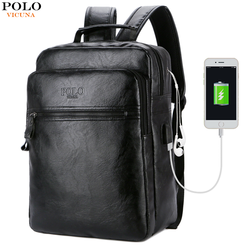 VICUNA POLO Multifunction USB Charging Men 15inch Laptop Backpack Fashion Men Mochila Leisure Preppy Style School Bag Travel Bag mochilas designer genuine leather bag mochila ciclismo preppy style multifunction men canvas bag fb1125