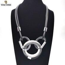 YD&YDBZ Hot Aluminum Mesh Rubber Necklaces Womens Designer Jewelry 3 Circle Fashion Pendnat Neck Choker Punk Style