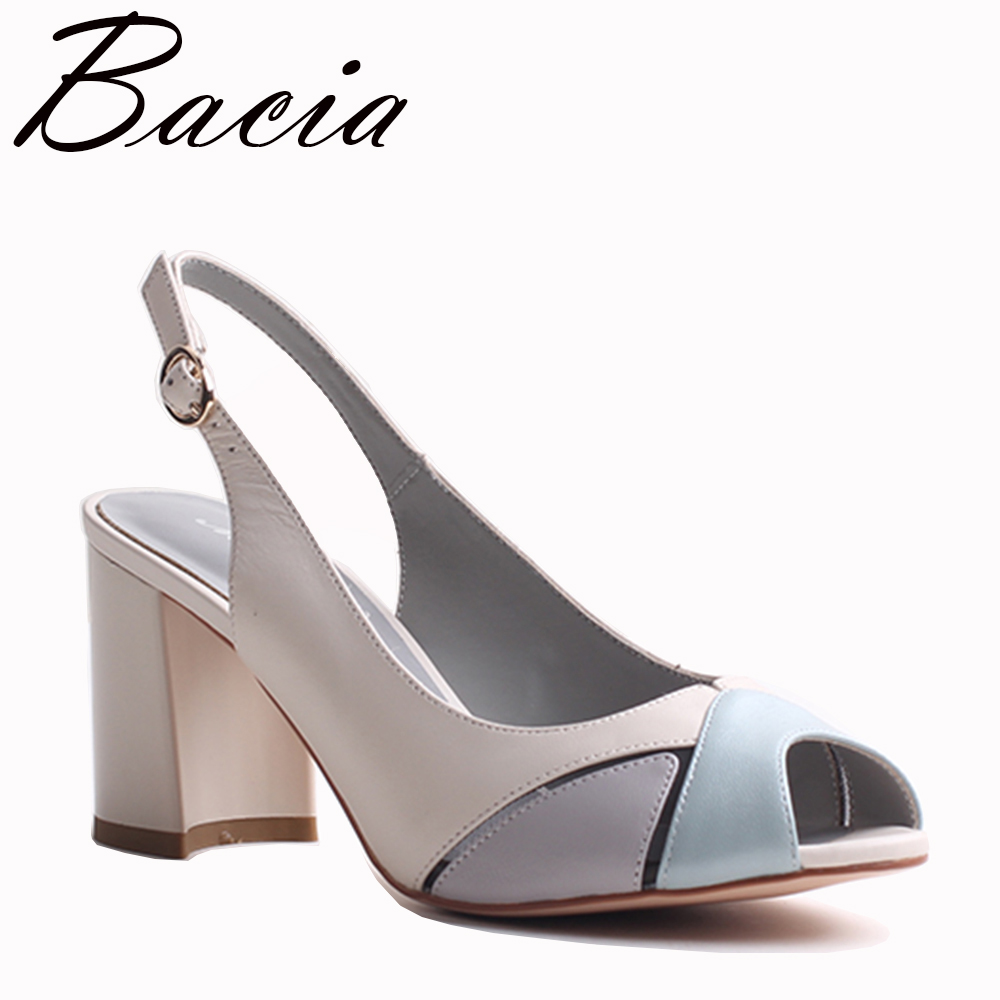 Bacia Sheep Skin Sandals 2017 New High Thick Heels Pumps Genuine Leather Spring Summer Buckle Strap Women Shoes Size33-42 VXB025
