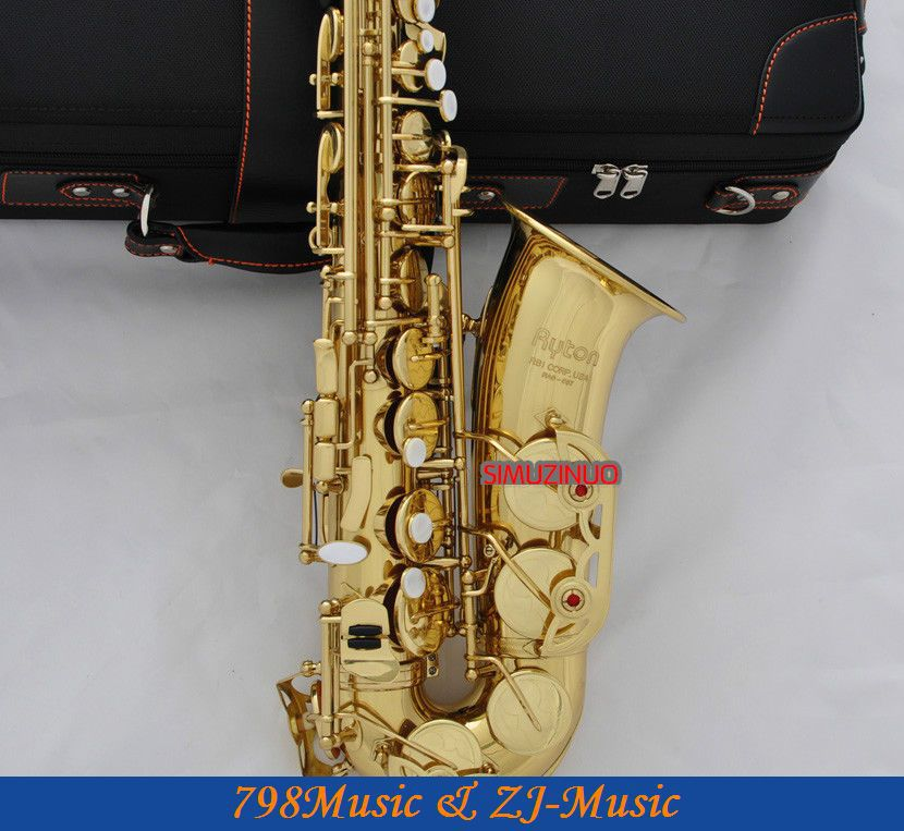 Zlatý lak Eb Alto saxofon High F # Key-Pearl Bottons
