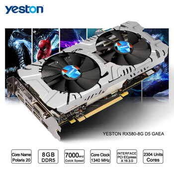 Yeston Radeon RX 580 GPU 8GB GDDR5 256 bit Gaming Desktop computer PC Video Graphics Cards support DVI/ HDMI PCI-E X16 3.0