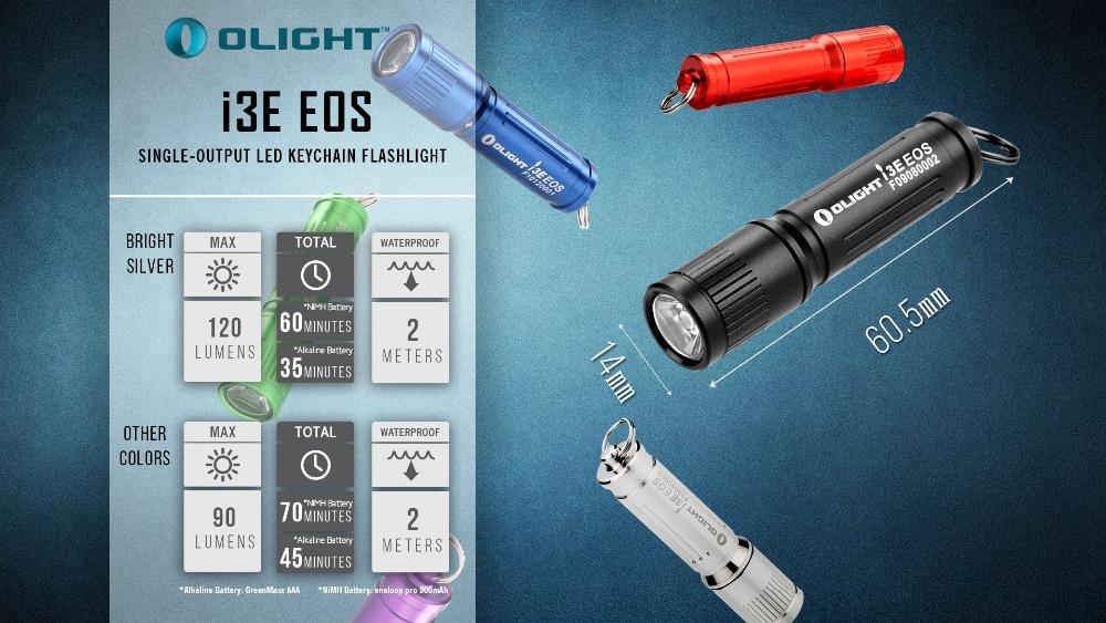 Olight i3E EOS EDC Key Ring 90 lumens LED Torch  AAA L60.5mmxD14mm Black