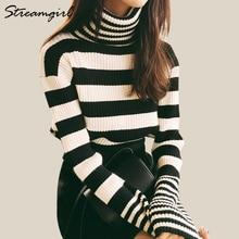 Women Turtleneck Sweater Stripe Autumn Sweaters Fashion 2018 Women Knitted Pullover Black Striped Turtleneck Ribbed Sweater