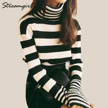 Women Turtleneck Sweater Stripe Autumn Sweaters Fashion 2018 Women Knitted Pullover Black Striped Turtleneck Ribbed Sweater