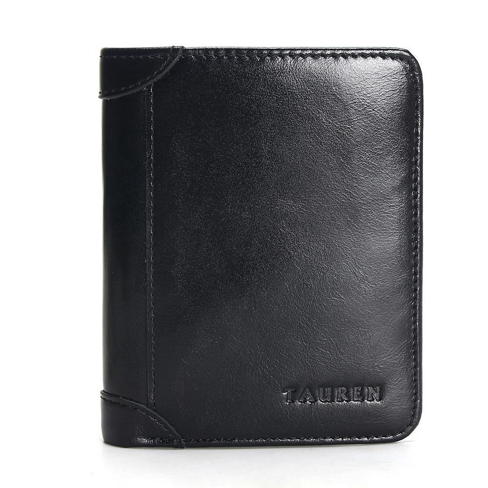 100 Genuine Leather Wallet Oil Wax Leather Bifold Men Wallet Casual Soild Men Wallets With Coin Pocket Purses Male Wallets in Wallets from Luggage Bags