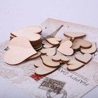 100pcs Wooden Love Heart shapes Laser Cut Blank Embellishments Craft Card Decor Scrapbooking Craft Cards Wood Craft Decoration