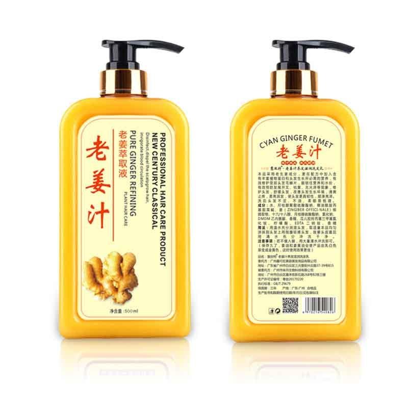 500ML Anti Hair Loss Products Ginger shampoo deep Nourish hair roots Repair Damage Hair growth Liquid Essence