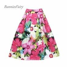 BunniesFairy 2017 Women Vintage Elegant Style Sweet Pink Daffodils Flower Floral Print High Waist Midi Skirt Saia Jupe Femme