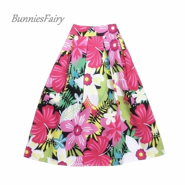BunniesFairy 2018 Women Vintage Elegant Style Sweet Pink Daffodils Flower Floral Print High Waist Midi Skirt Saia Jupe Femme