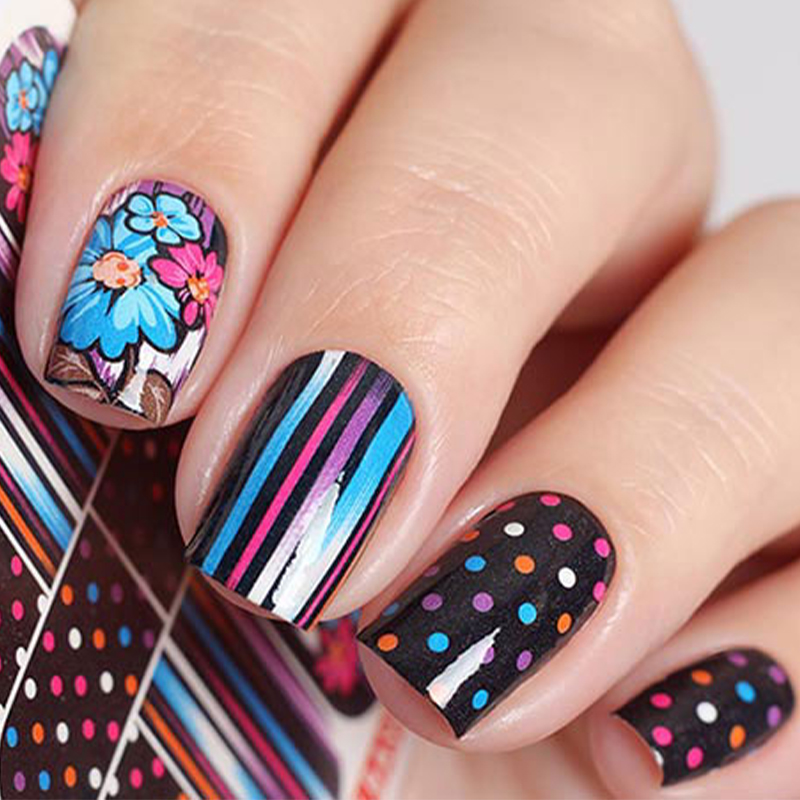 Wuf 1 Sheet Colorful Flower Water Transfer Sticker Nail