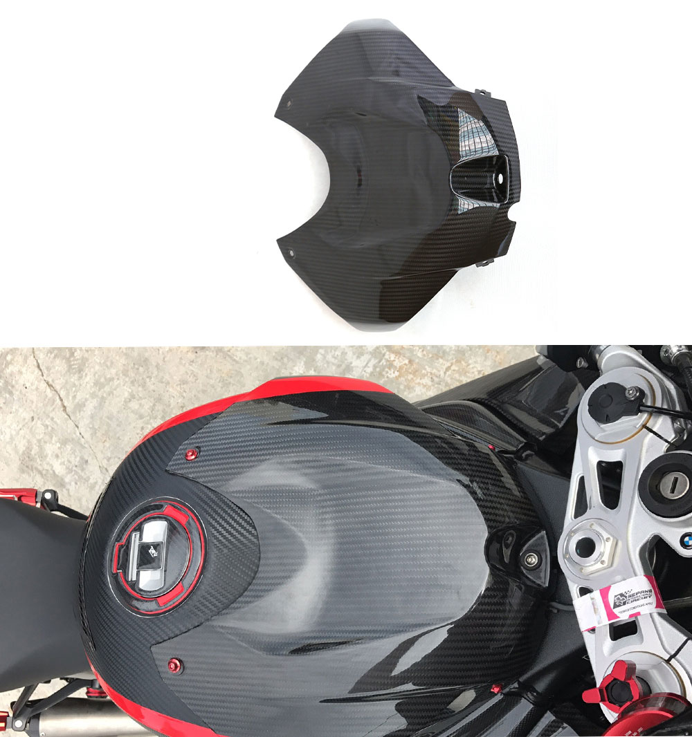 For bmw s1000rr Carbon Fiber Front Gas Cap Tank Cover Fairing Kits Guard Protective Cover 2015 2016 2017 2018 image