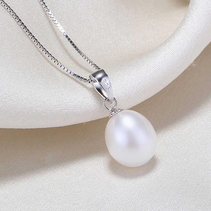 Dmcsfp007 8-9mm conjuntos de jóias de pérola de água doce real 925 conjuntos de prata esterlina para mulher