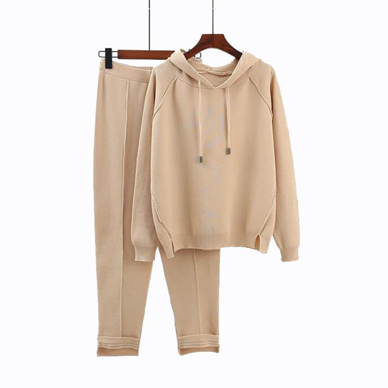 Rlyaeiz 2018 Autumn Brand New Fashion 2 Piece Set Women Sporting Suits Knitting Pullover + Pants Sporting Wear Female Tracksuit