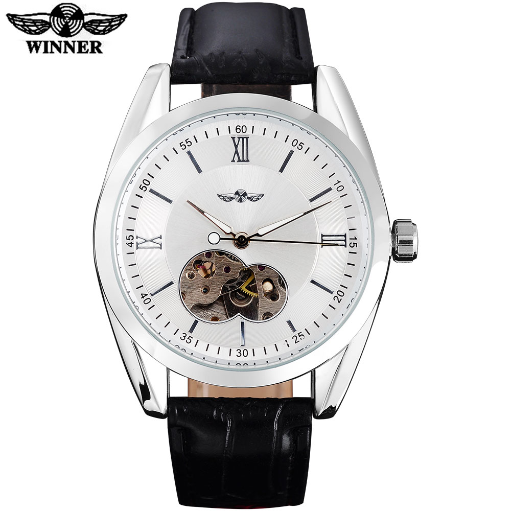 TWINNER fashion men mechanical watches leather strap casual brand men's automatic skeleton silver case watches relogio masculino winner fashion men mechanical watches leather strap silver case new casual brand analog automatic wristwatches relogio masculino