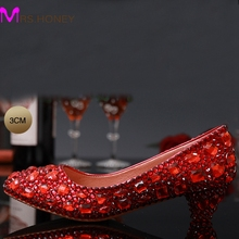 Fashionable 2016 Low Heel Bling Red Rhinestones Bridal Shoes High Quality Wedding Shoes Formal Crystal Occasion Free Shipping