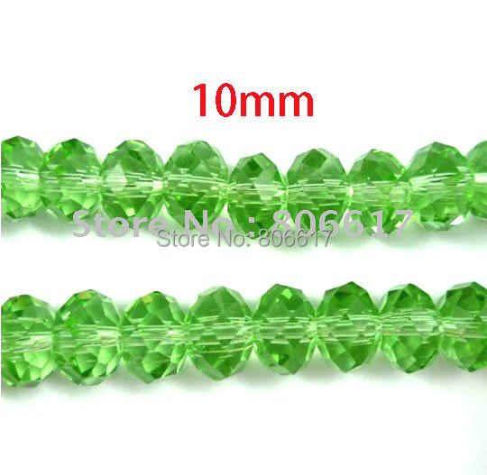 Perles entretoises vertes à facettes coupées 100 pièces 10x7mm perles de verre (W00366)