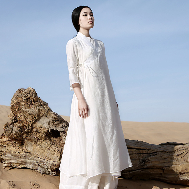 e18093572f Chinese Traditional Dress Long Sleeve Zen Meditation Tea Dress Clothes  Women Cotton Clothing Robe White