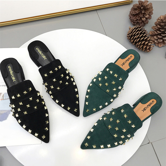 Slippers Women Fall Shoes Ladies Slides Pointed Toe Women Mules Rivet Shoes Ladies House Slider Shoes Women Brand Shoes