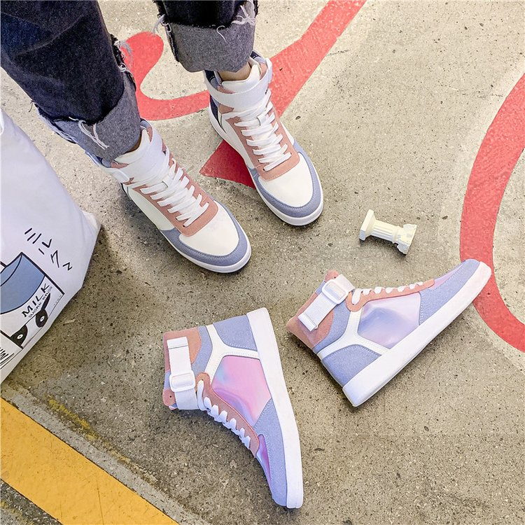 Mhysa 2019 Autumn Women Fashion Sneakers High Top Hook Loop Lace Up Platform Casual Shoes flat Heel Women's vulcanized shoes 38