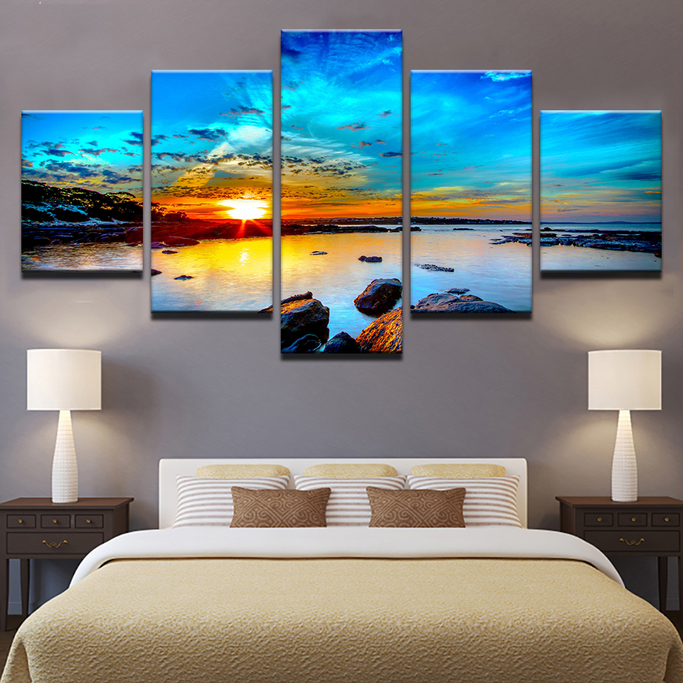 Canvas prints paintings home decor 5 pieces blue sky seaside sunrise sea reef pictures sunset - Canvas prints home decor photos ...