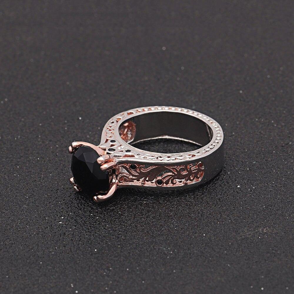 Hainon большой черный прозрачный камень CZ Кристалл обручальные кольца аксессуар цветок любви обещает кольца для Для женщин Роскошные Очарова...