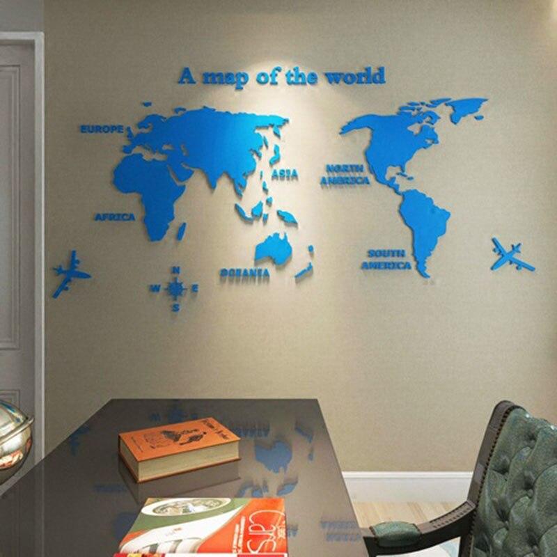 3D acrylique carte du monde sticker mural bureau salon safa fond décor mural décoration de la maison décalque grand cadeau