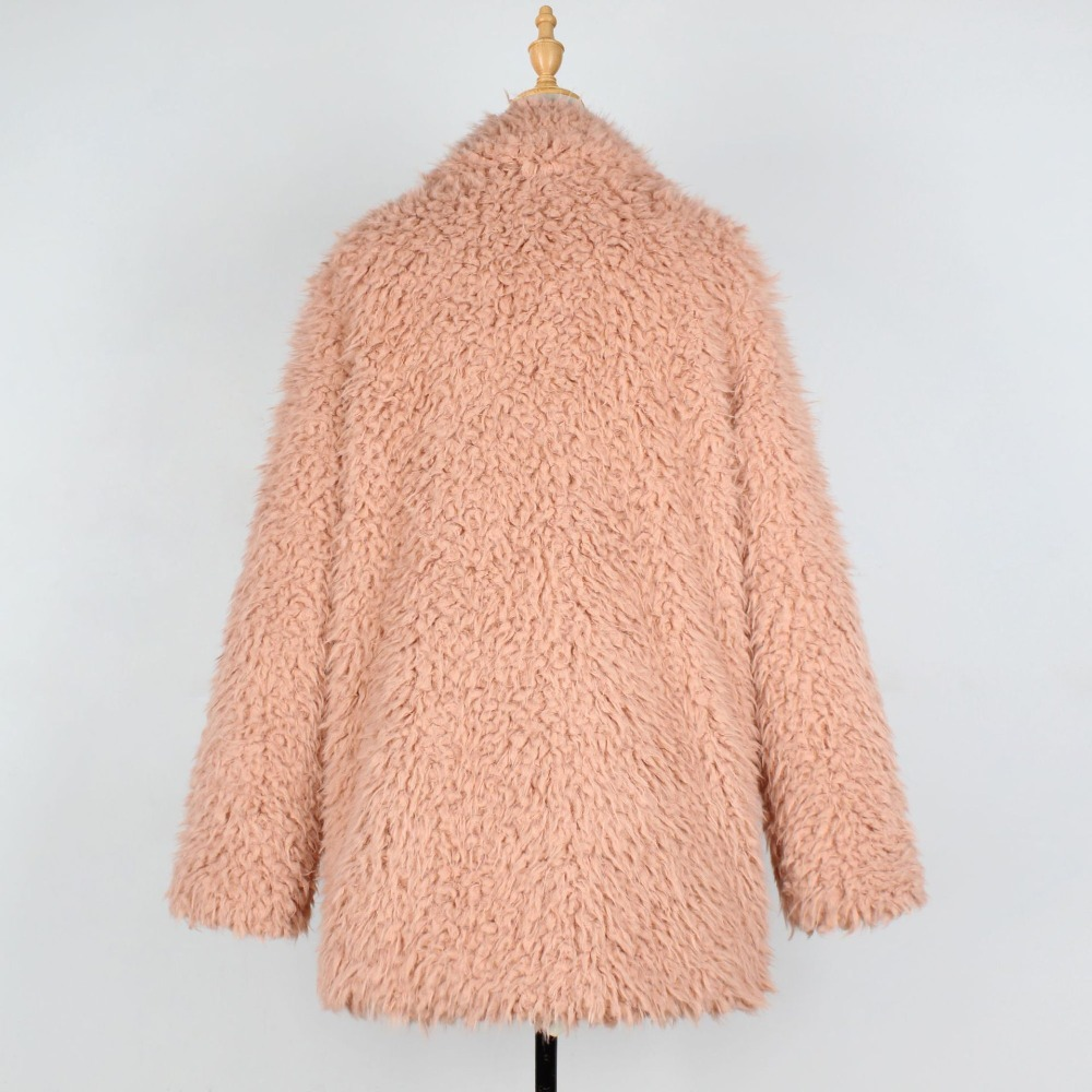 Faux Chaud Peluche Teddy Veste Pink En Fourrure Femmes Automne Hiver Femme black D'agneau De Élégant Manteau Pardessus Streetwear rqvwxOBA7r