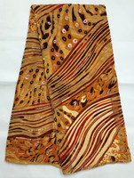 Silk Velvet Fabric In Gold 5yards Pcs With Twills Design For Sewing Dubai Velvet Party Dress