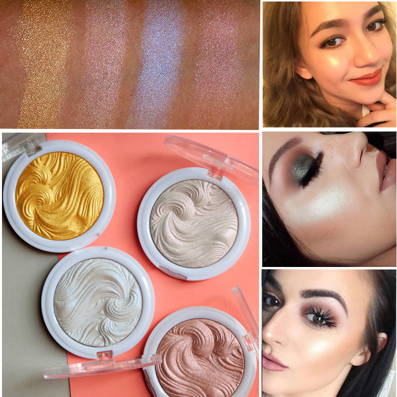 MISS ROSE Makeup Bronzer Powder Highlighter Glow Palette Face Brightener Contour Shimmer Baked Glitter Powder Cosmetics