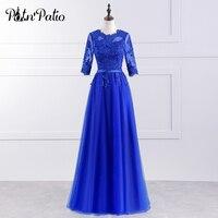 PotN'Patio Nửa Tay Áo Royal Blue Bridesmaid Dress Dài Tầng Dài Cộng Với Kích Thước 2017 New Arrival