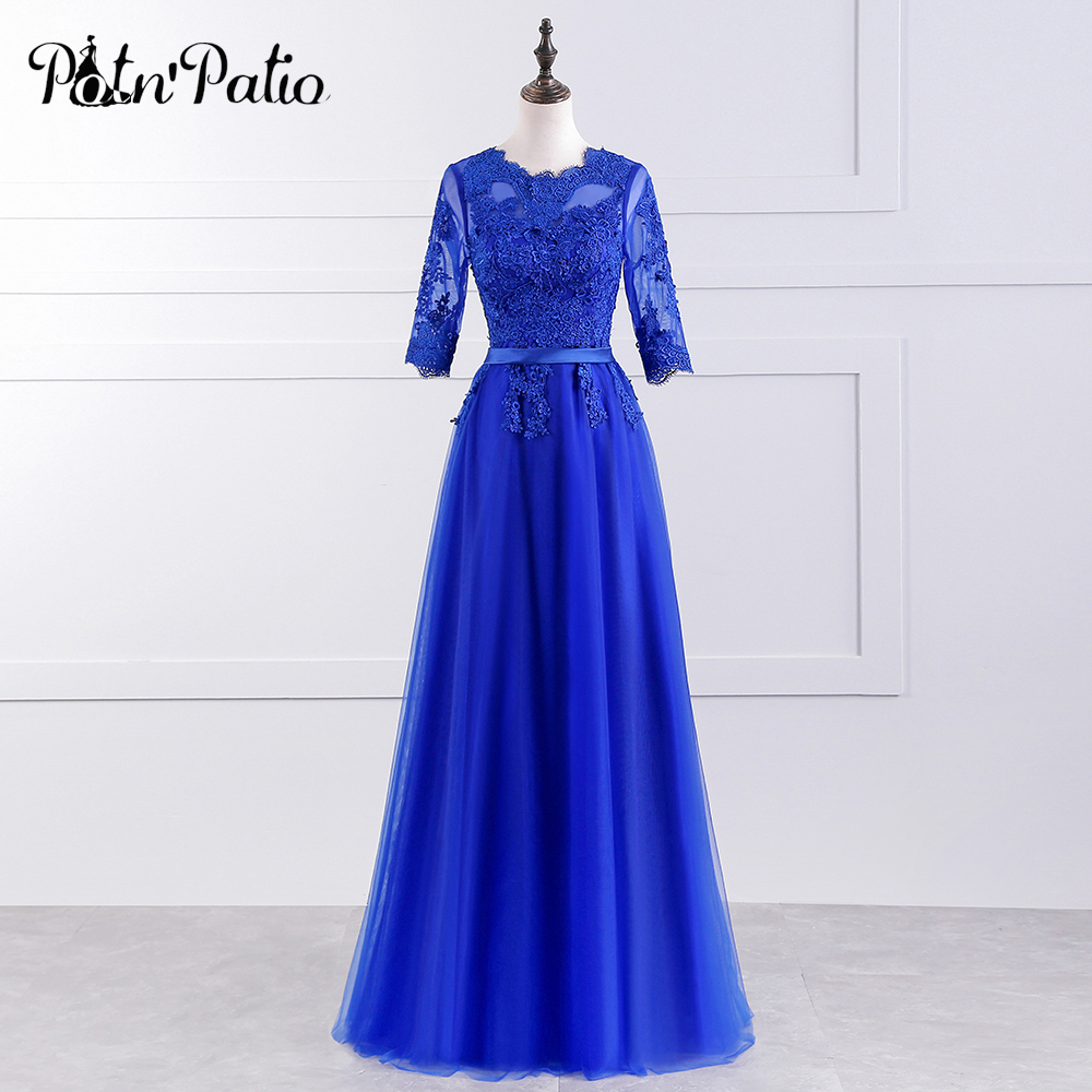 PotN'Patio Royal Blue Bridesmaid Dress Long Elegant O-neck Half Sleeves Luxury Lace Appliques Wedding Party Dresses