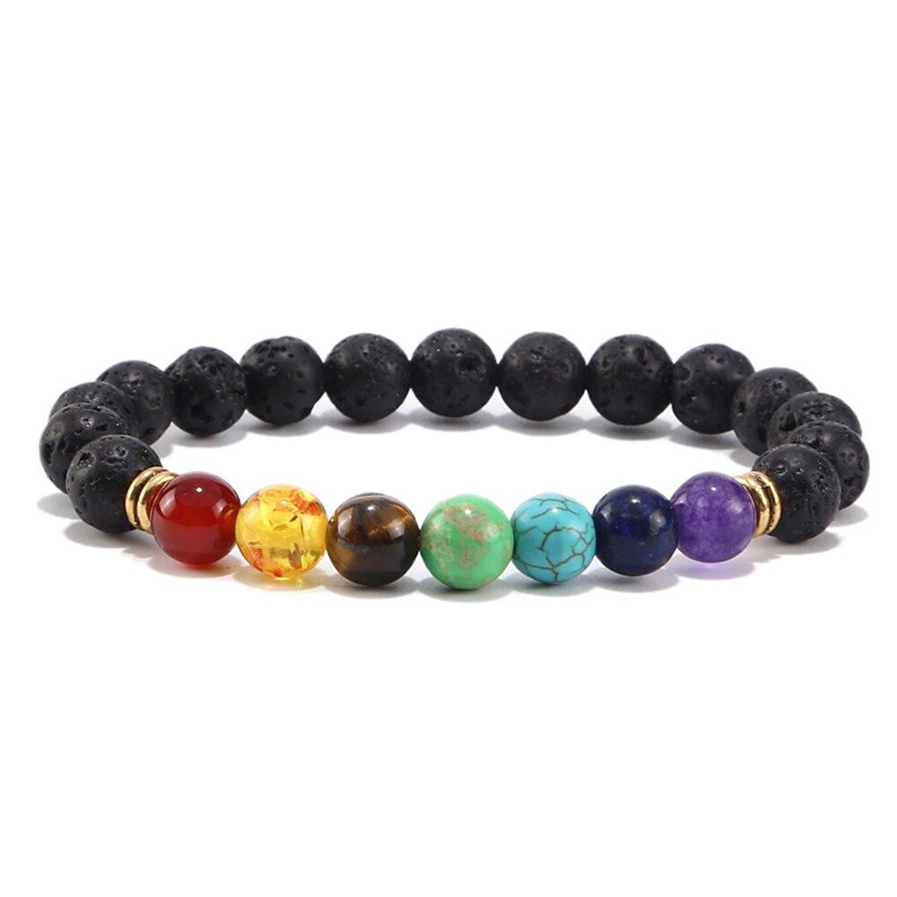 Men Women 8mm Prayer Lava Stone Beads 7Color Beads Chakra Healing Bracelet Gift