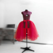 Fashion Red Tulle Overskirt Detachable Skirt Tutu Layered Short Wedding Skirt Separate Bridal Gown Lace Up Knee Length Overlay