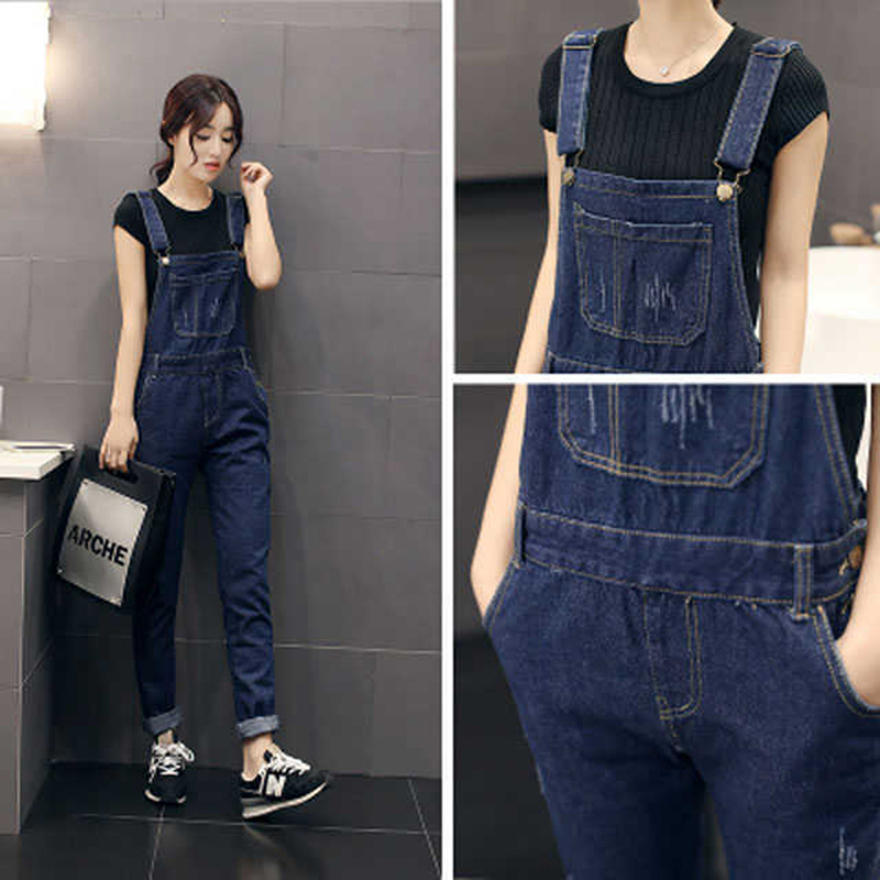 2018 Korean Slim Was Thin Denim Overalls Washed Loose Overalls Denim Trousers   Jeans   Women Casual Big Pockets Overalls
